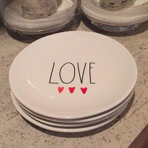 "Rae Dunn ""Love"" ceramic plates. 8""."
